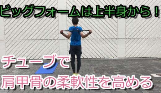 肩甲骨でグングン進むランニングにするゴムチューブ練習